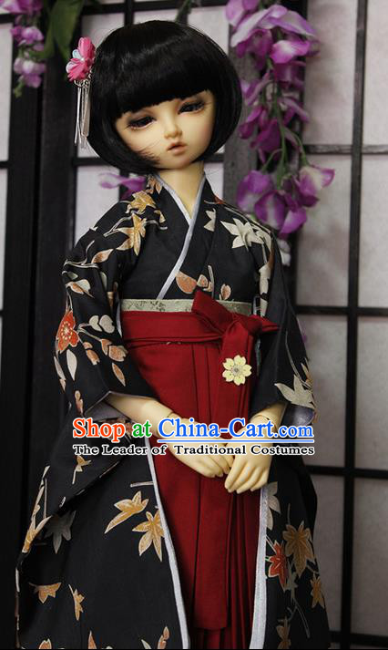 Top Grade Traditional Japan Kimono Costumes Complete Set, Ancient Japanese Kimono Cosplay Black Clothing for Adults and Kids