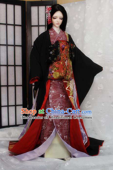 Top Grade Traditional Japan Kimono Costumes Complete Set, Ancient Japanese Kimono Cosplay Geisha Black Clothing for Adults and Kids