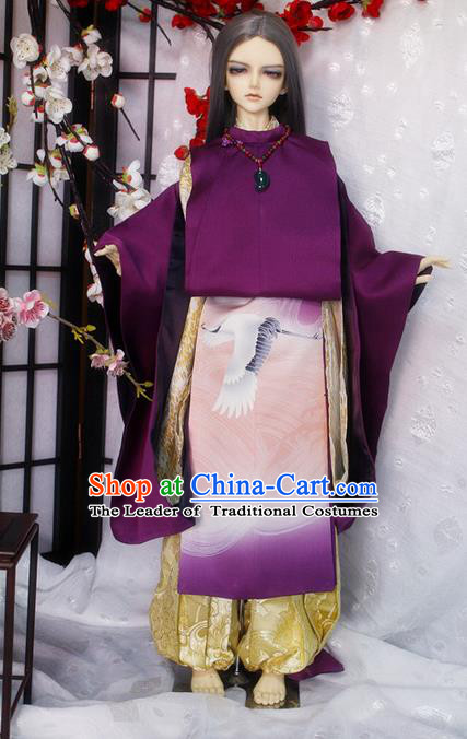 Top Grade Traditional Japan Crane Kimono Costumes Complete Set, Ancient Japanese Kimono Cosplay Purple Clothing for Adults and Kids