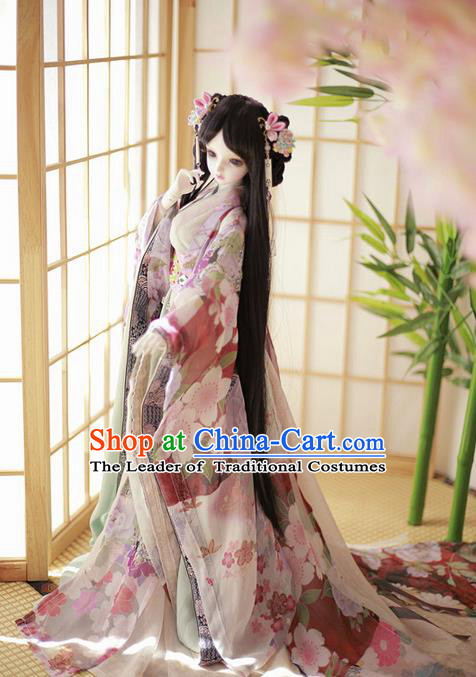 Top Grade Traditional China Ancient Palace Lady Costumes Complete Set, China Ancient Cosplay Tang Dynasty Princess Dress Clothing for Women and Kids