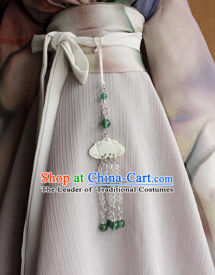 Top Grade Traditional China Ancient Palace Lady Beads Jade Accessories Pendant, China Ancient Swordsman Tassel Waist Pendant