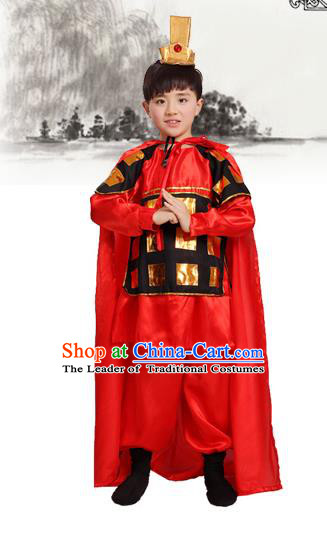 Top Grade Chinese Peking Opera Costume and Headwear Complete Set, Children Beijing Opera General Clothing for Kids