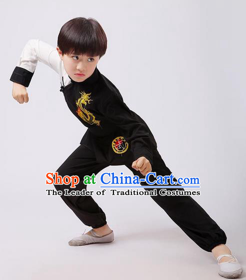 Top Grade Chinese Ancient Martial Arts Costume, Children Taiji Kung fu Black Clothing for Kids