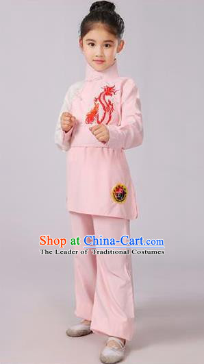 Top Grade Chinese Ancient Martial Arts Costume, Children Taiji Kung fu Pink Clothing for Kids