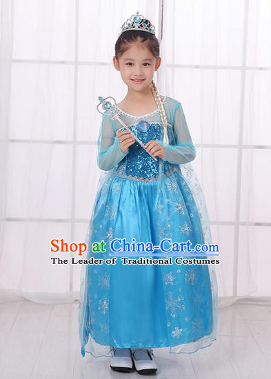 Top Grade Chinese Professional Halloween Performance Costume, Children Cosplay Princess Blue Bubble Dress for Kids