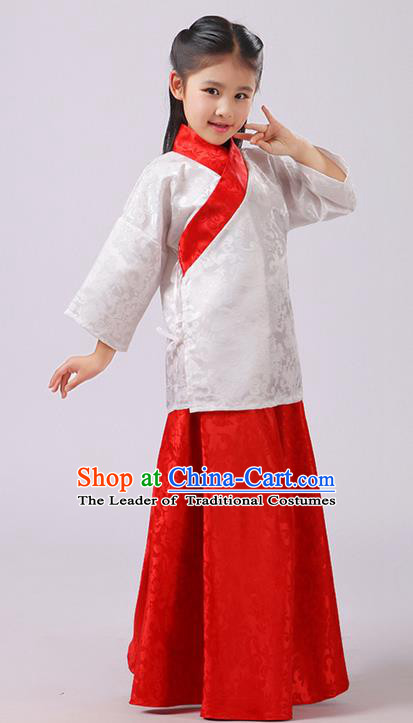 Top Grade Chinese Ancient Palace Princess Costume, Children Han Dynasty Hanfu Red Clothing for Kids