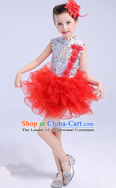 Top Grade Chinese Professional Performance Jazz Dance Costume, Children Modern Dance Red Bubble Dress for Kids