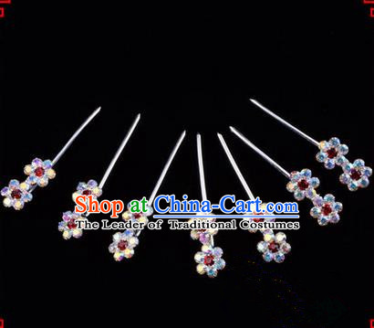 Chinese Ancient Peking Opera Head Accessories Young Lady Diva Colorful Crystal Headwear Wintersweet Red Hairpins Complete Set, Traditional Chinese Beijing Opera Hua Tan Head-ornaments