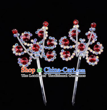Chinese Ancient Peking Opera Head Accessories Young Lady Diva Colorful Crystal Headwear Sunflower Red Hairpins, Traditional Chinese Beijing Opera Hua Tan Head-ornaments