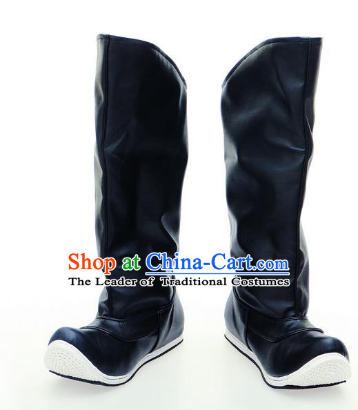 Chinese Ancient Peking Opera Leather Shoes, Traditional Chinese Beijing Opera Hanfu Officer Boots for Men