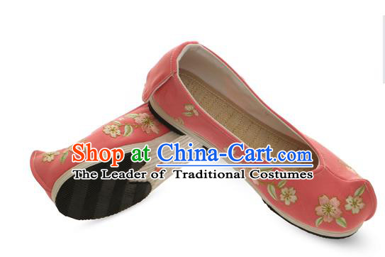 Chinese Ancient Peking Opera Young Lady Shoes, Traditional Chinese Beijing Opera Ancient Princess Hanfu Cloth Pink Shoes for Women