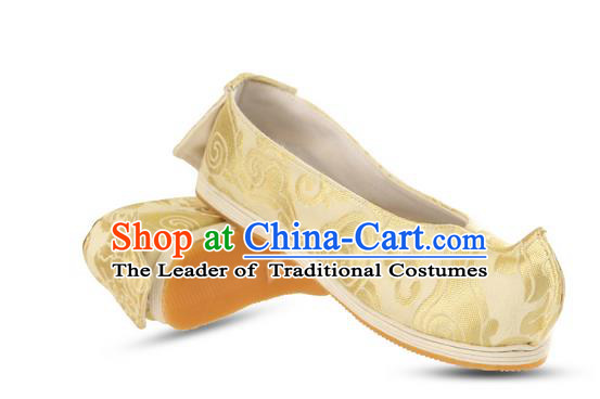 Chinese Ancient Peking Opera Young Lady Silk Damask Shoes, Traditional Chinese Beijing Opera Ancient Princess Hanfu Cloth Shoes Bow Shoes for Women