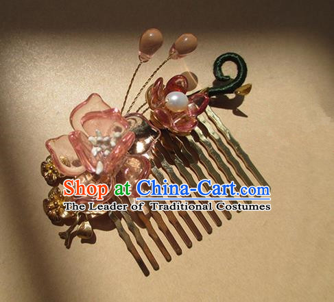 Chinese Ancient Handmade Jewelry Accessories Pink Flowers Hairpins, Traditional Chinese Ancient Hanfu Hair Stick Combs for Women
