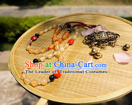 Chinese Ancient Handmade Jewelry Accessories Beads Longevity Lock, Traditional Chinese Ancient Hanfu Wedding Necklace Collar Chain for Women