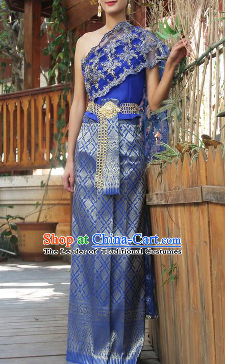 a30fabe98 Traditional Thailand Ancient Handmade Costumes, Traditional Thai China Dai  Nationality Bride Wedding Blue Dress Clothing for Women