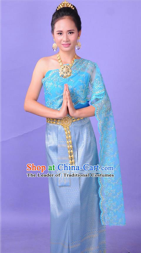 297e210d6 Traditional Thailand Ancient Handmade Princess Costumes, Traditional Thai  China Dai Nationality Bride Wedding Blue Dress Clothing for Women