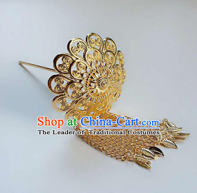 Traditional Thailand Ancient Handmade Hair Accessories Headpiece, Traditional Thai China Dai Nationality Golden Tassel Hairpins for Women