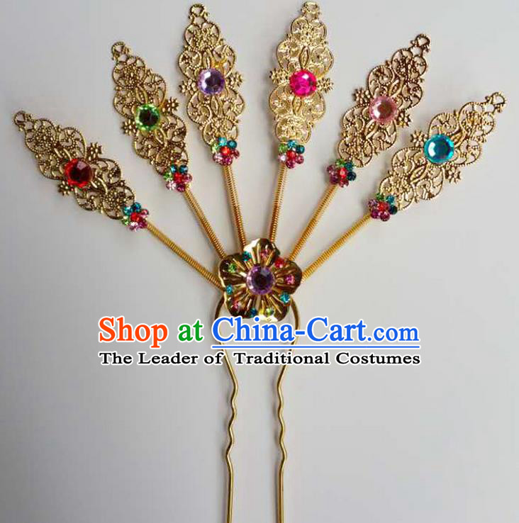Traditional Thailand Ancient Handmade Hair Accessories Headpiece, Traditional Thai China Dai Nationality Colorful Crystal Hairpins Headwear for Women
