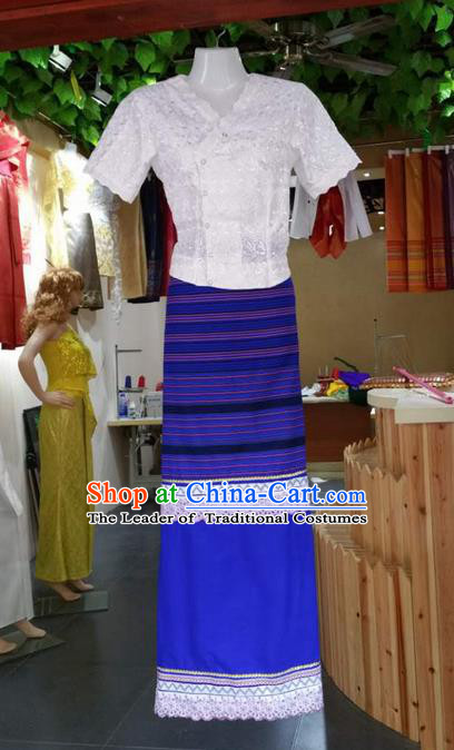 Traditional Thailand Ancient Handmade Costumes, Traditional Thai China Dai Nationality Blue Dress Clothing for Women