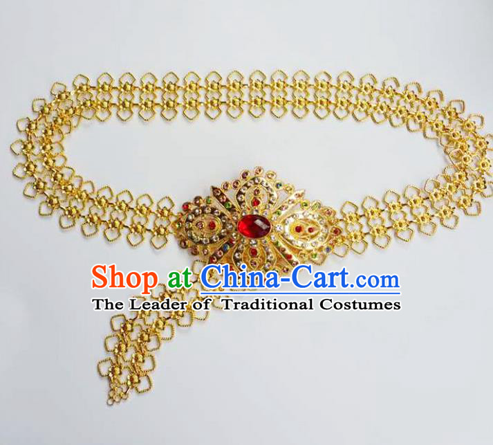 Traditional Thailand Ancient Handmade Waist Chain Accessories, Traditional Thai China Dai Nationality Red Crystal Belts Pendant for Women