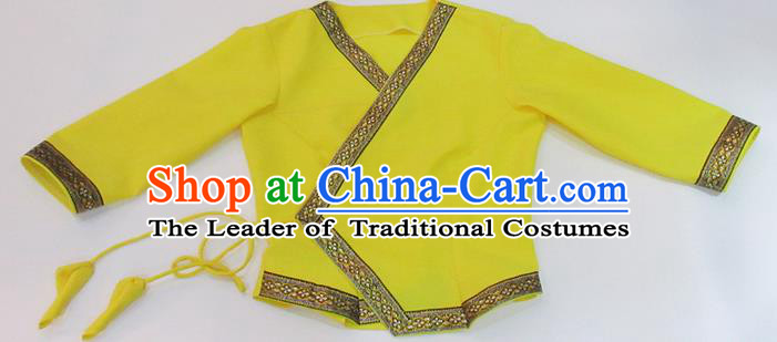Traditional Thailand Ancient Handmade Female Costumes, Traditional Thai China Dai Nationality Yellow Blouse Clothing for Women