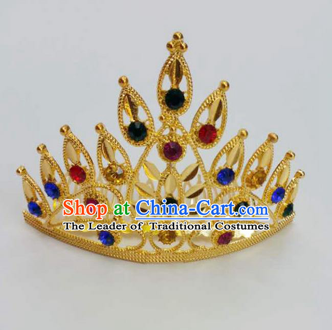 Traditional Thailand Ancient Handmade Hair Accessories, Traditional Thai China Dai Nationality Colorful Crystal Royal Crown for Women
