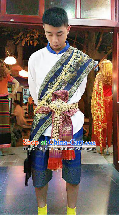 Traditional Thailand Ancient Handmade Male Costumes and Accessories, Traditional Thai Uniform China Dai Nationality Dark Blue Clothing for Men
