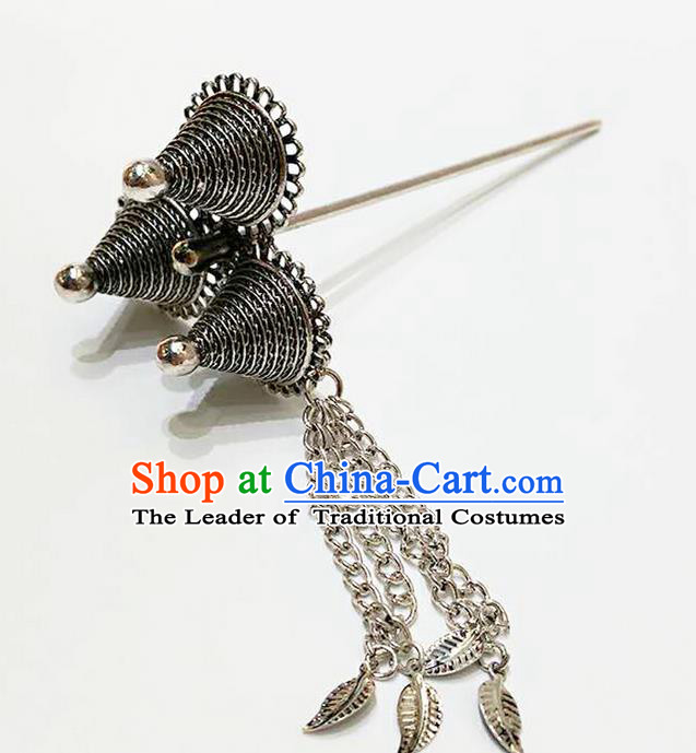 Traditional Thailand Ancient Handmade Hair Accessories, Traditional Thai China Dai Nationality Hairpins Hair Stick Headpiece for Women