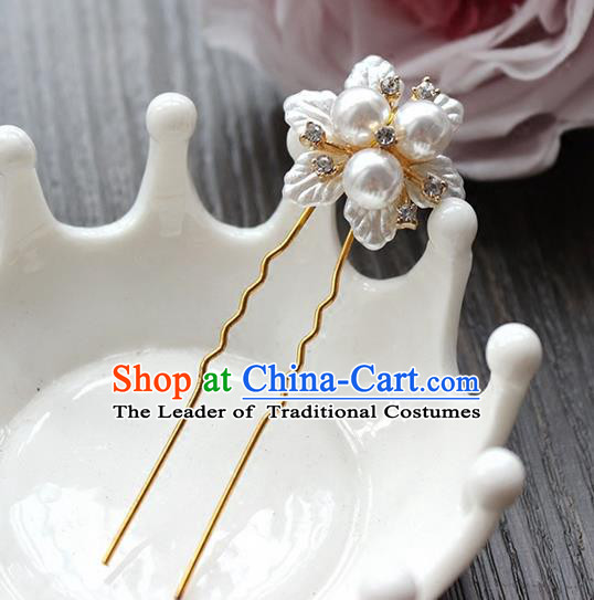 Top Grade Handmade Wedding Bride Hair Accessories, Traditional Princess Pearl Hair Stick Wedding Headwear Hairpins for Women