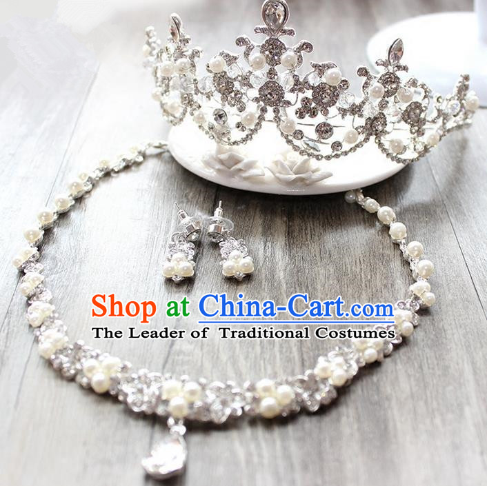 Top Grade Handmade Wedding Bride Hair Accessories and Necklace Earrings, Traditional Princess Baroque Pearl Royal Crown Wedding Headwear for Women