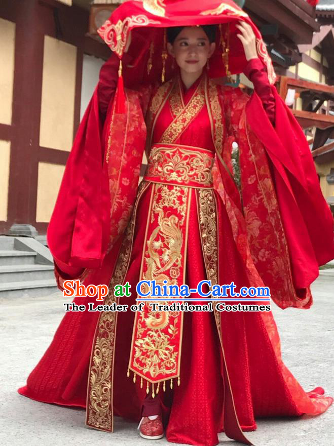 Traditional Ancient Chinese Northern and Southern Dynasties Wedding Costume, The Entangled Life of Qingluo Princess Hanfu Wedding Dress Clothing and Headpiece Complete Set