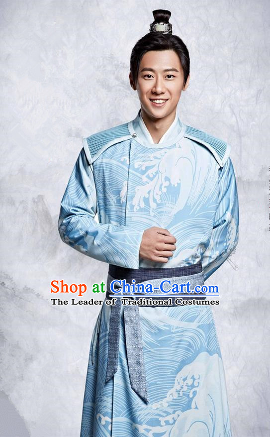 Traditional Ancient Chinese Northern and Southern Dynasties Swordsman Scholar Costume, The Entangled Life of Qingluo Nobility Childe Hanfu Clothing and Headpiece Complete Set