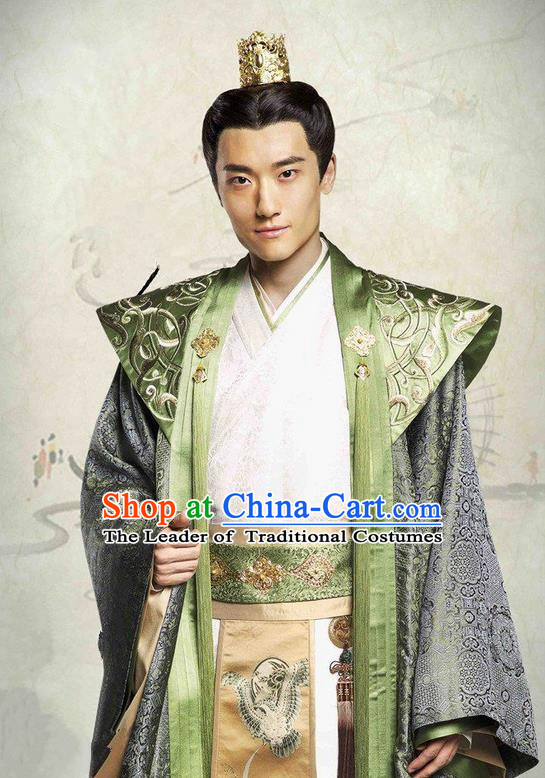 Traditional Ancient Chinese Northern and Southern Dynasties Nobility Childe Costume, The Entangled Life of Qingluo Royal Highness Robe Hanfu Clothing and Headpiece Complete Set