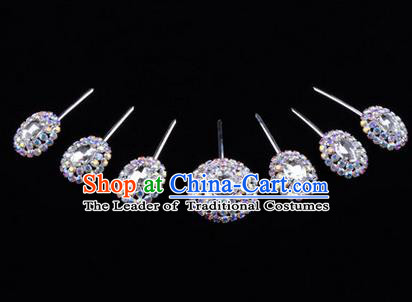 Chinese Ancient Peking Opera Head Accessories Young Lady Diva Colorful Crystal White Hairpins Complete Set, Traditional Chinese Beijing Opera Hua Tan Hair Clasp Head-ornaments