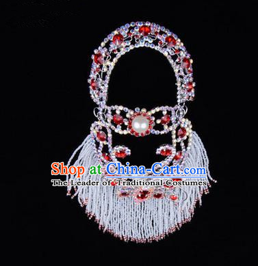 Chinese Ancient Peking Opera Head Accessories Young Lady Diva Red Pearl Hairpins Back Temples Curtain, Traditional Chinese Beijing Opera Hua Tan Hair Clasp Head-ornaments