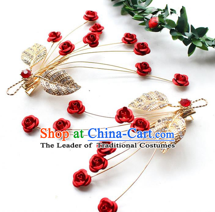 Top Grade Handmade Wedding Bride Hair Accessories Headpiece, Traditional Princess Wedding Headwear Rose Hair Stick for Women