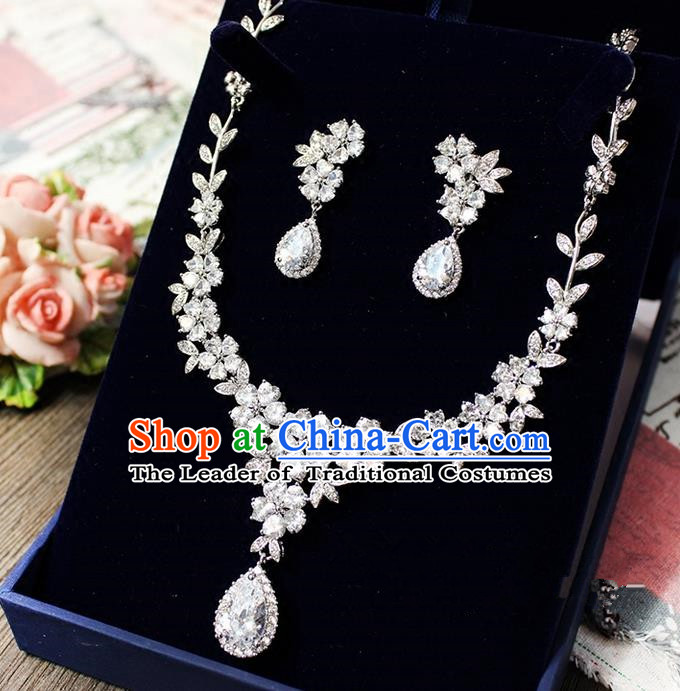 Top Grade Handmade Wedding Bride Accessories Necklace and Earrings Complete Set, Traditional Princess Crystal Zircon Wedding Jewelry for Women