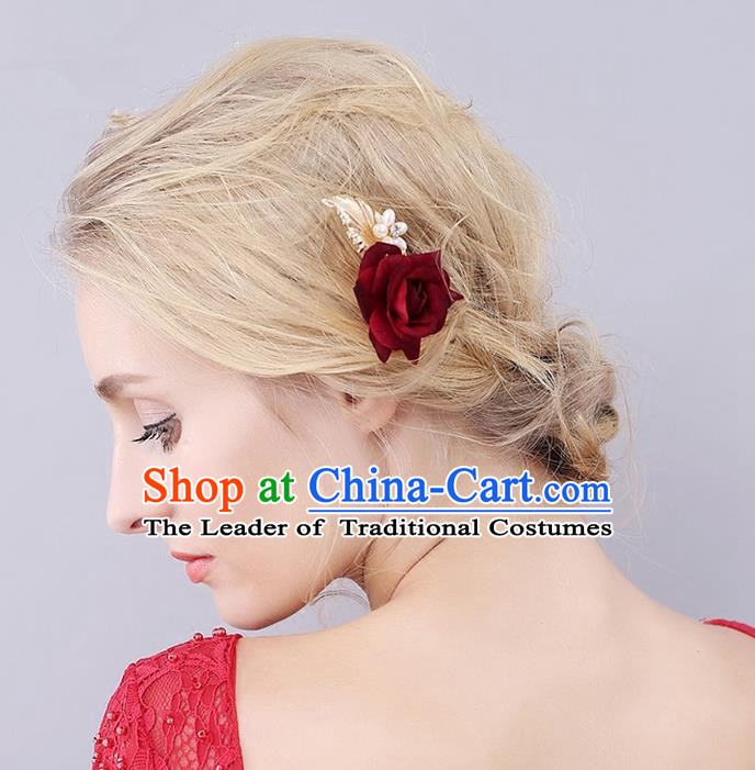Top Grade Handmade Wedding Bride Hair Accessories Red Rose Hair Stick, Traditional Princess Wedding Headwear Hairpins for Women