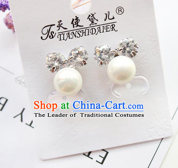 Top Grade Handmade Wedding Bride Accessories Earrings, Traditional Princess Wedding Pearl Crystal Eardrop for Women