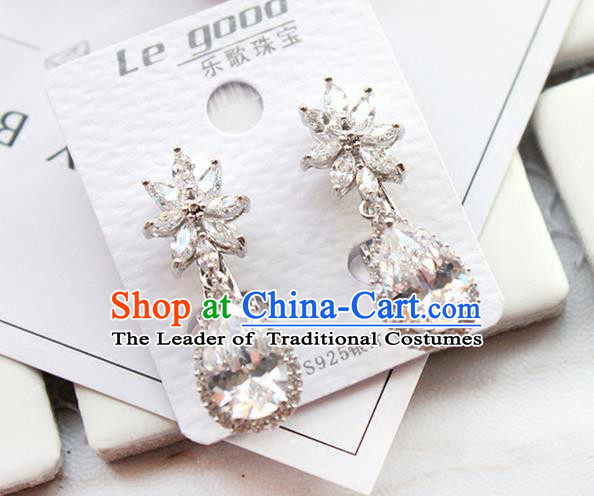 Top Grade Handmade Wedding Bride Accessories Earrings, Traditional Princess Wedding Crystal Eardrop for Women