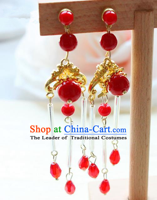 Top Grade Handmade Wedding Bride Accessories Earrings, Traditional Princess Wedding Red Eardrop for Women