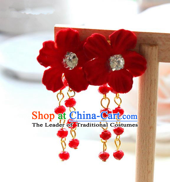Top Grade Handmade Wedding Bride Accessories Earrings, Traditional Princess Wedding Red Flower Eardrop for Women