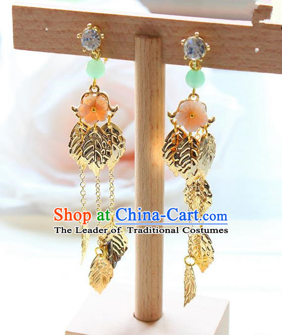 Top Grade Handmade Wedding Bride Accessories Earrings, Traditional Princess Wedding Long Tassel Flower Eardrop for Women