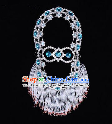 Chinese Ancient Peking Opera Head Accessories Young Lady Diva Blue Crystal Hairpins Back Temples Curtain, Traditional Chinese Beijing Opera Hua Tan Hair Clasp Head-ornaments