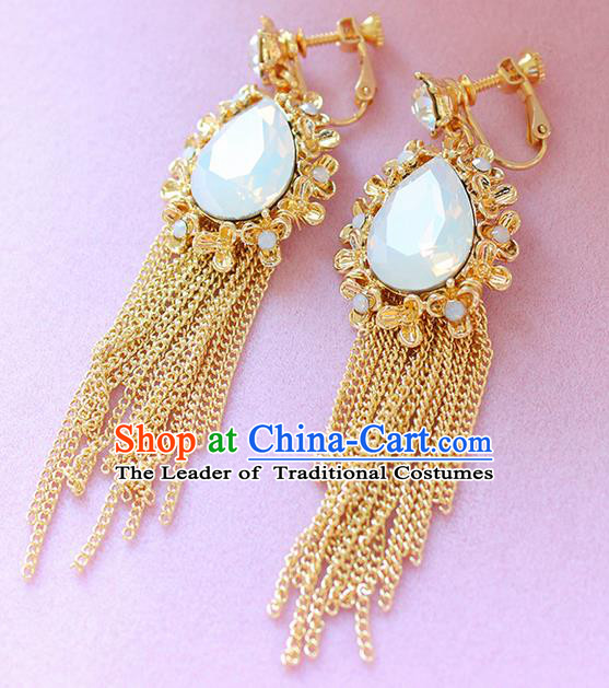 Top Grade Handmade Wedding Bride Accessories Opal Earrings, Traditional Princess Wedding Long Tassel Eardrop for Women