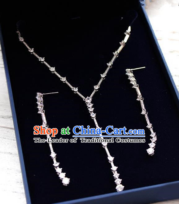Top Grade Handmade Wedding Bride Accessories Zircon Necklace and Long Earrings Complete Set, Traditional Princess Crystal Wedding Jewelry for Women