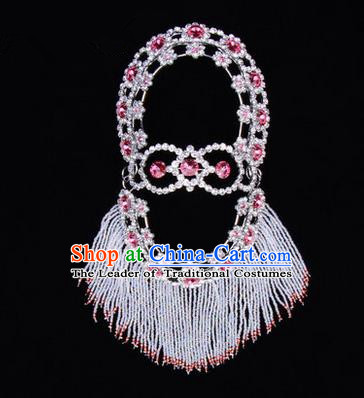 Chinese Ancient Peking Opera Head Accessories Young Lady Diva Pink Crystal Hairpins Back Temples Curtain, Traditional Chinese Beijing Opera Hua Tan Hair Clasp Head-ornaments