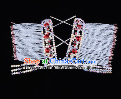 Chinese Ancient Peking Opera Head Accessories Young Lady Diva Red Crystal Tassel Hairpins Temples Curtain, Traditional Chinese Beijing Opera Hua Tan Hair Clasp Head-ornaments