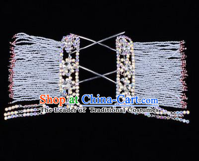 Chinese Ancient Peking Opera Head Accessories Young Lady Diva White Crystal Tassel Hairpins Temples Curtain, Traditional Chinese Beijing Opera Hua Tan Hair Clasp Head-ornaments