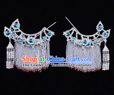 Chinese Ancient Peking Opera Head Accessories Diva Blue Crystal Tassel Hairpins Temples Curtain, Traditional Chinese Beijing Opera Princess Hua Tan Hair Clasp Head-ornaments